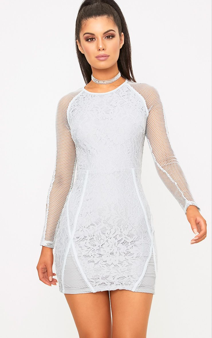 Ida Grey Lace Fishnet Panel Bodycon Dress