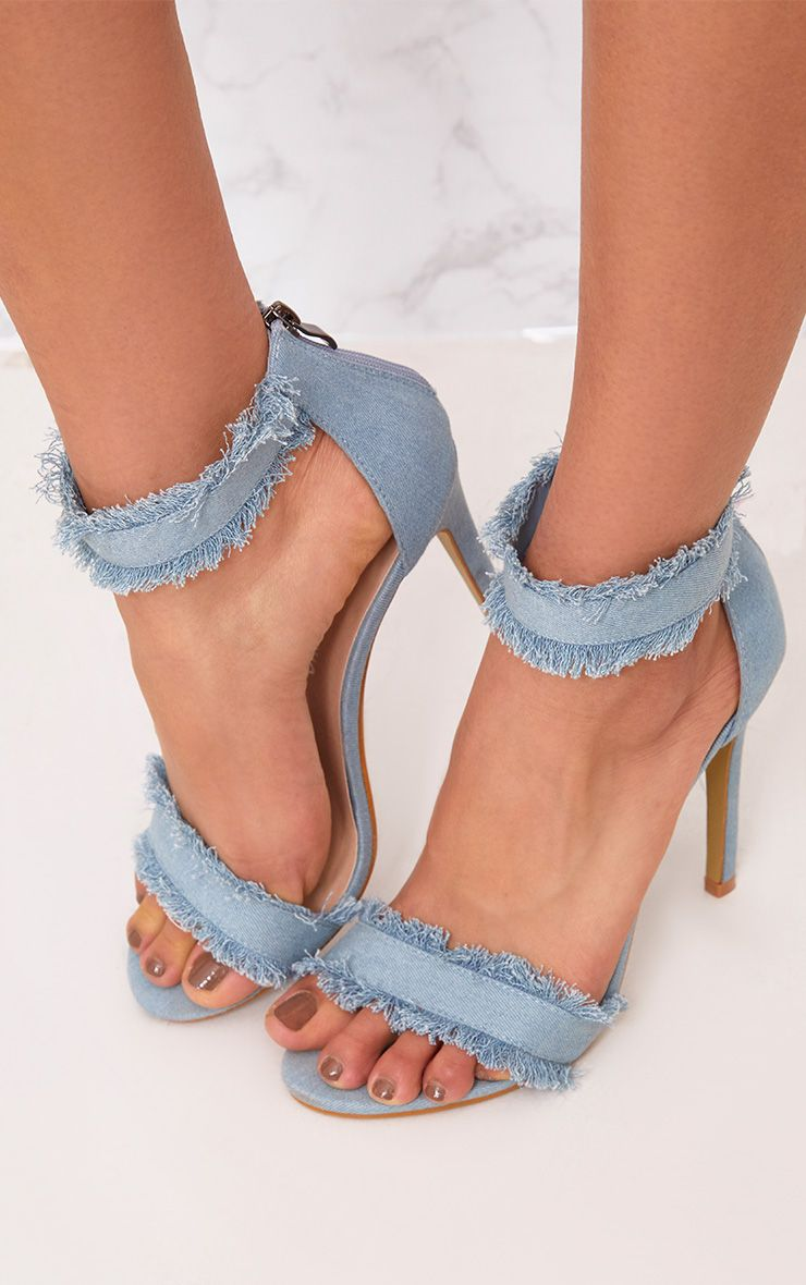 Christel Light Wash Frayed Denim Strappy Heels