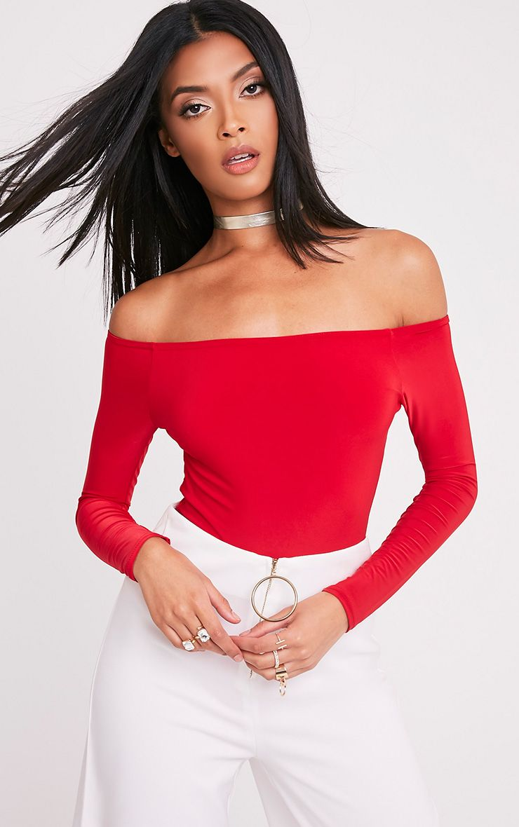 Rossalyn Red Slinky Bardot Bodysuit 1