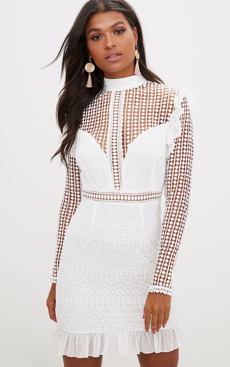 White Lace Chiffon Frill Detail Bodycon Dress