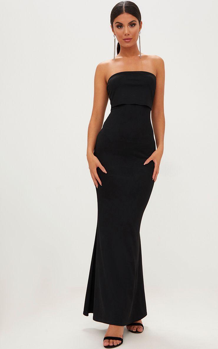 Black Bandeau Frill Hem Maxi Dress