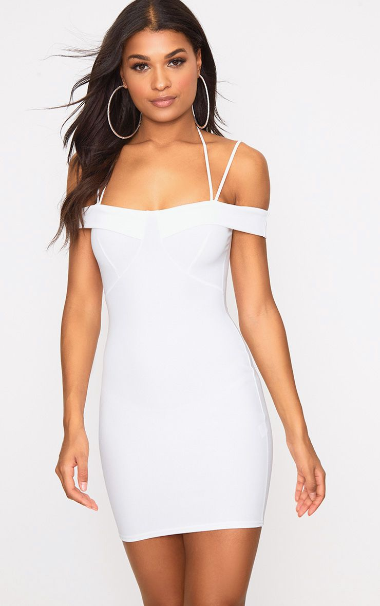 White Strap Detail Bodycon Dress