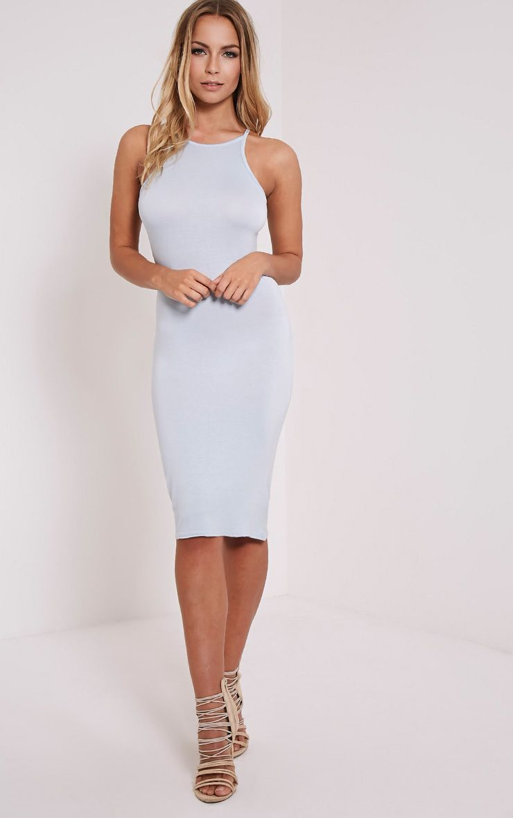 Basic Powder Blue Thin Strap Racer Neck Jersey Midi Dress 1