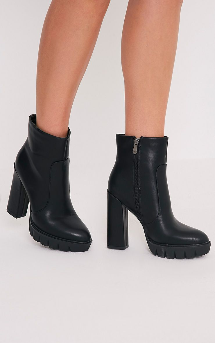 Ciel Black PU Cleated Sole Heeled Ankle Boots