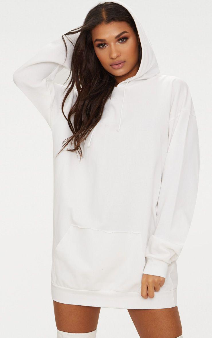 White Oversized Hoodie Dress