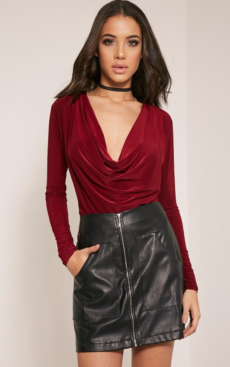 Denika Wine Cowl Neck Slinky Bodysuit 1