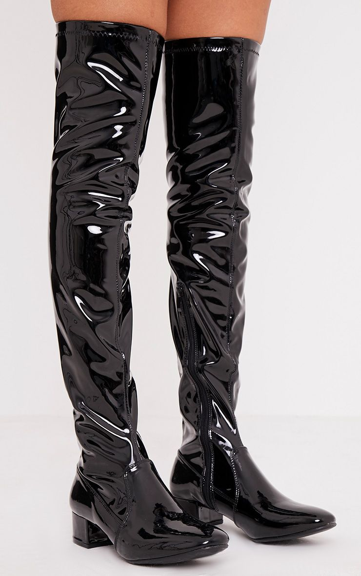 Esmay Black Patent Thigh High Boots Boots