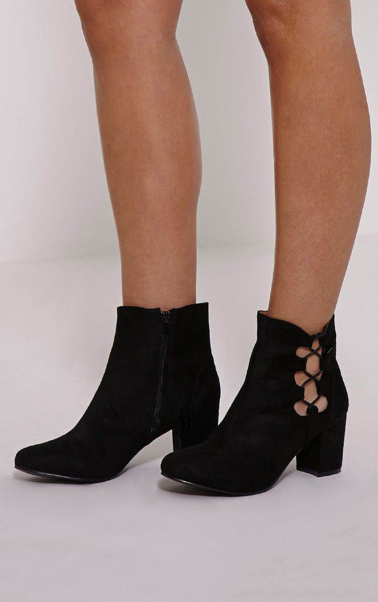 Genevieve Black Lace Up Side Heel Ankle Boots 1