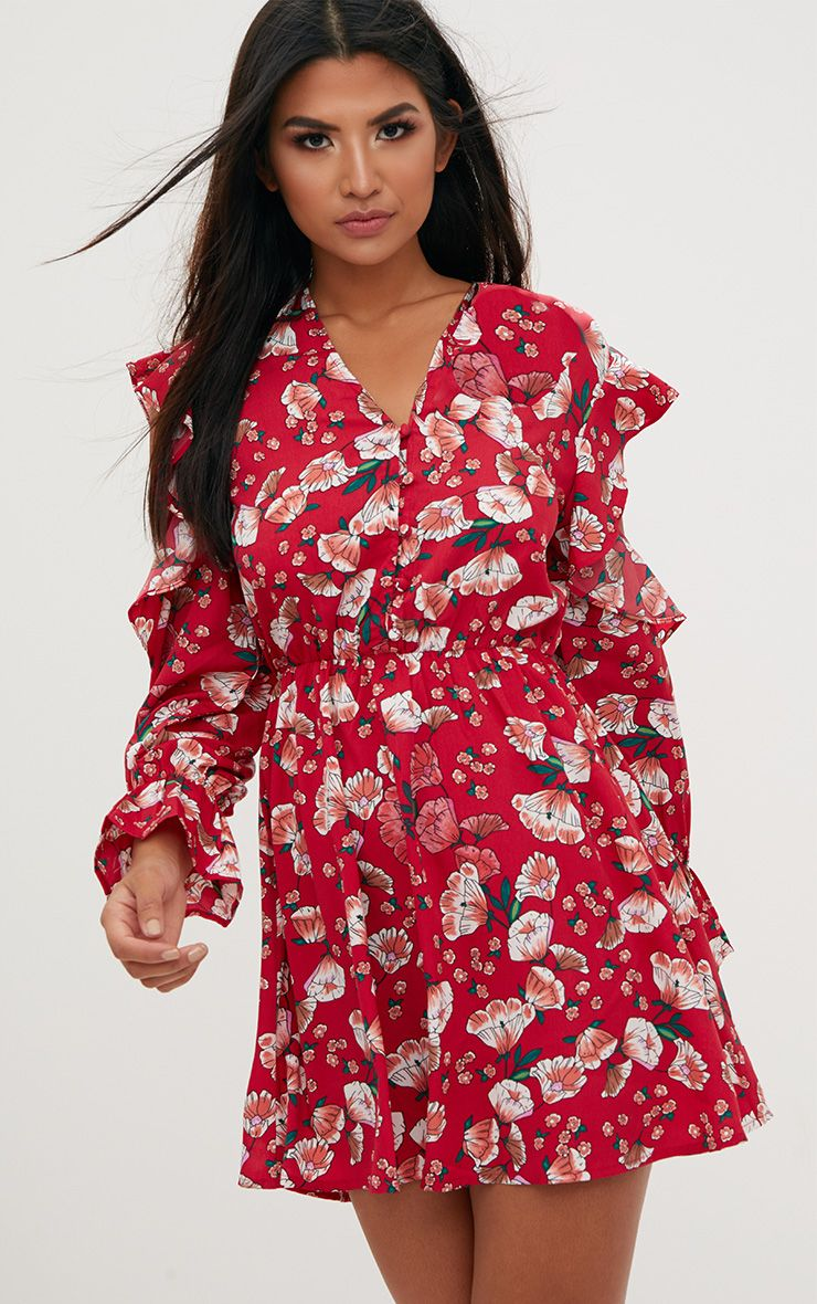Red Floral Frill Cold Shoulder Shift Dress