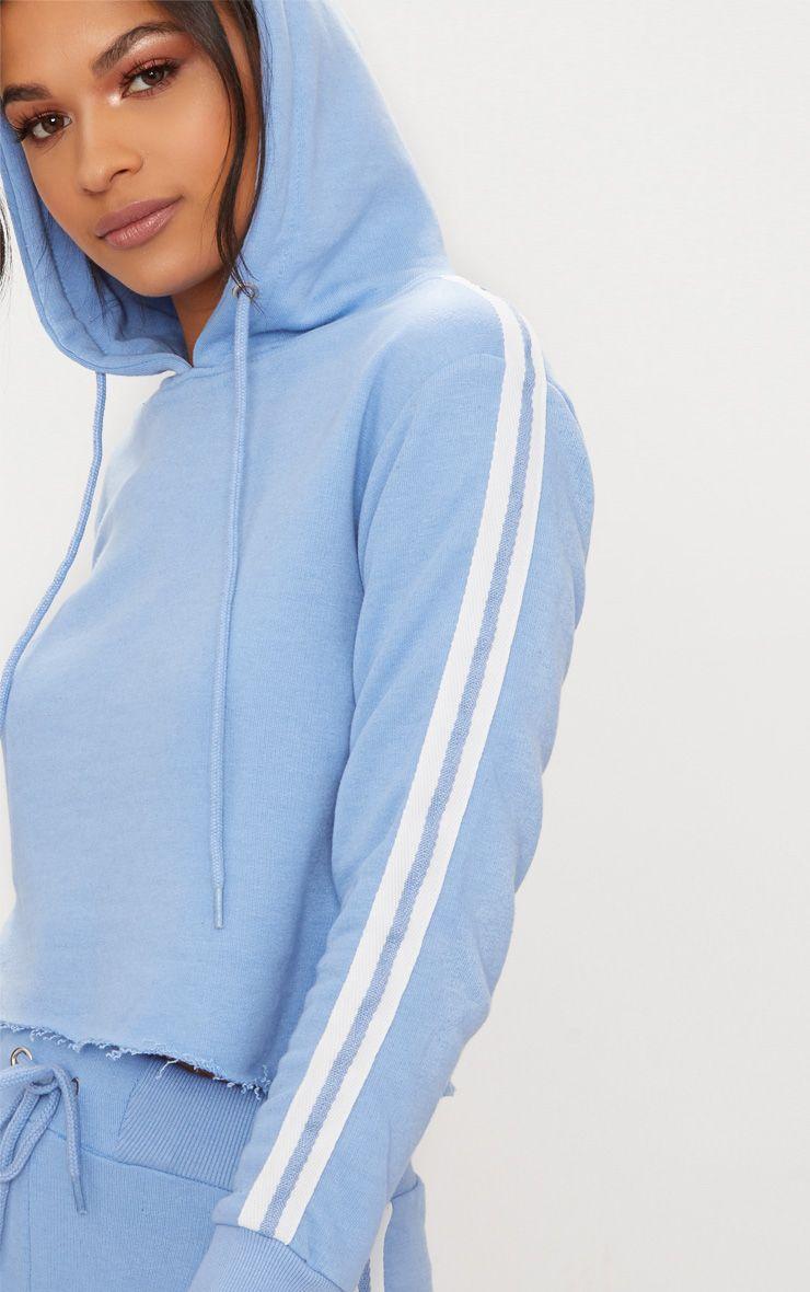 baby blue side stripe hoodie prettylittlething usa. Black Bedroom Furniture Sets. Home Design Ideas