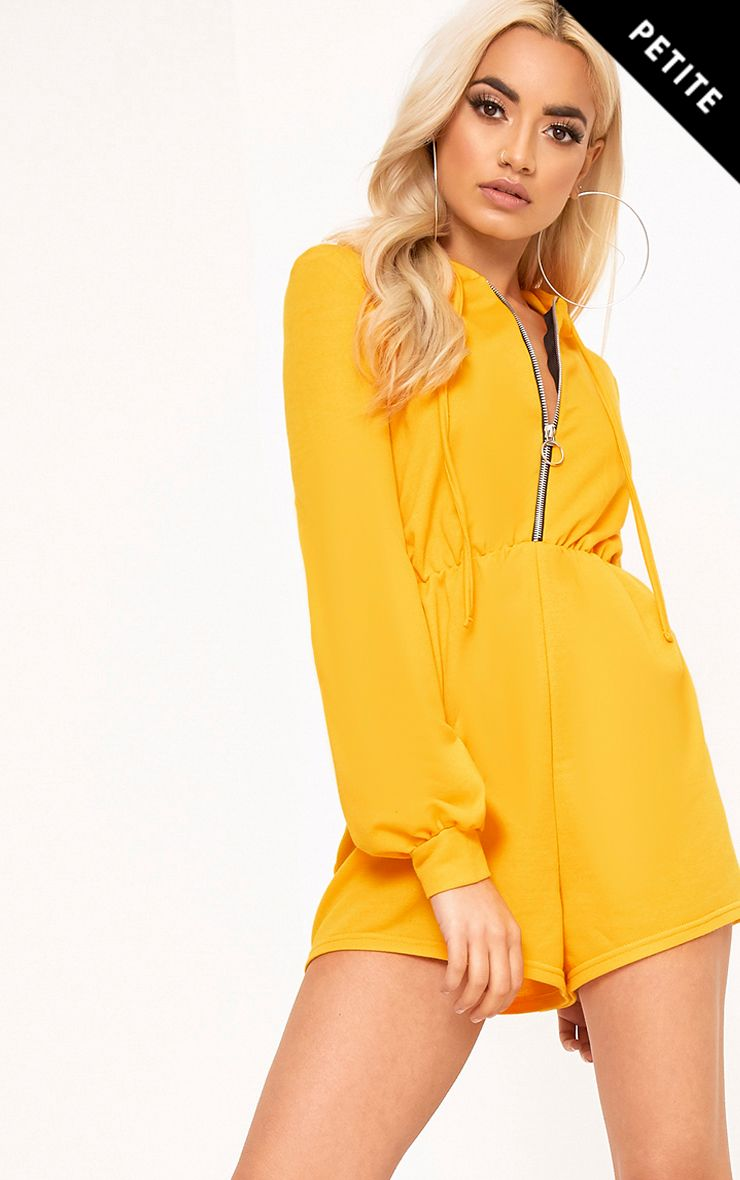 Petite Adalyn Yellow Zipped Front Hooded Playsuit