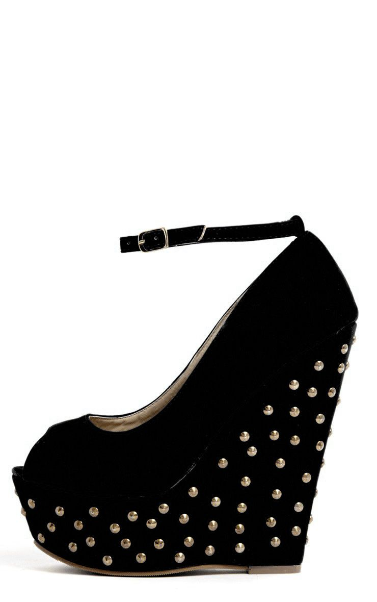 Lily Black Studded Wedges 1