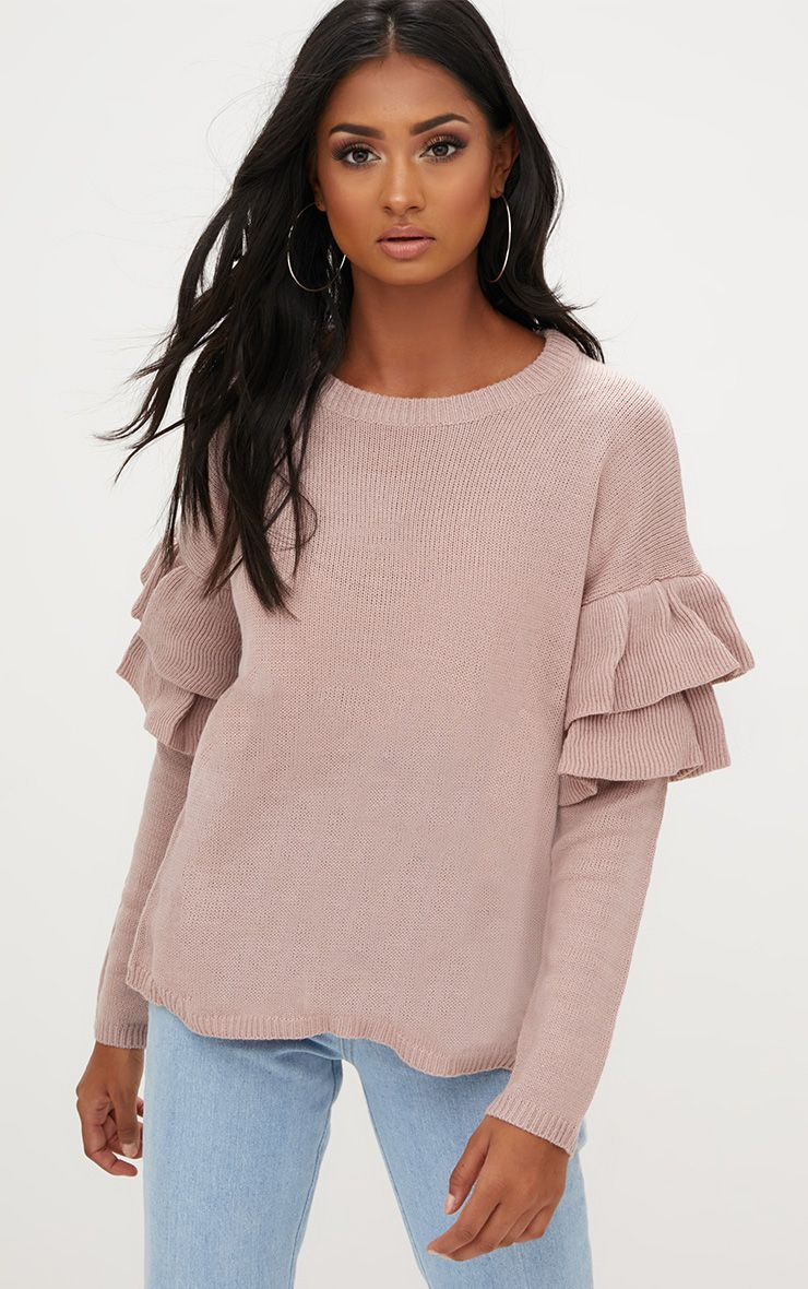 Blush Double Frill Sleeve Jumper
