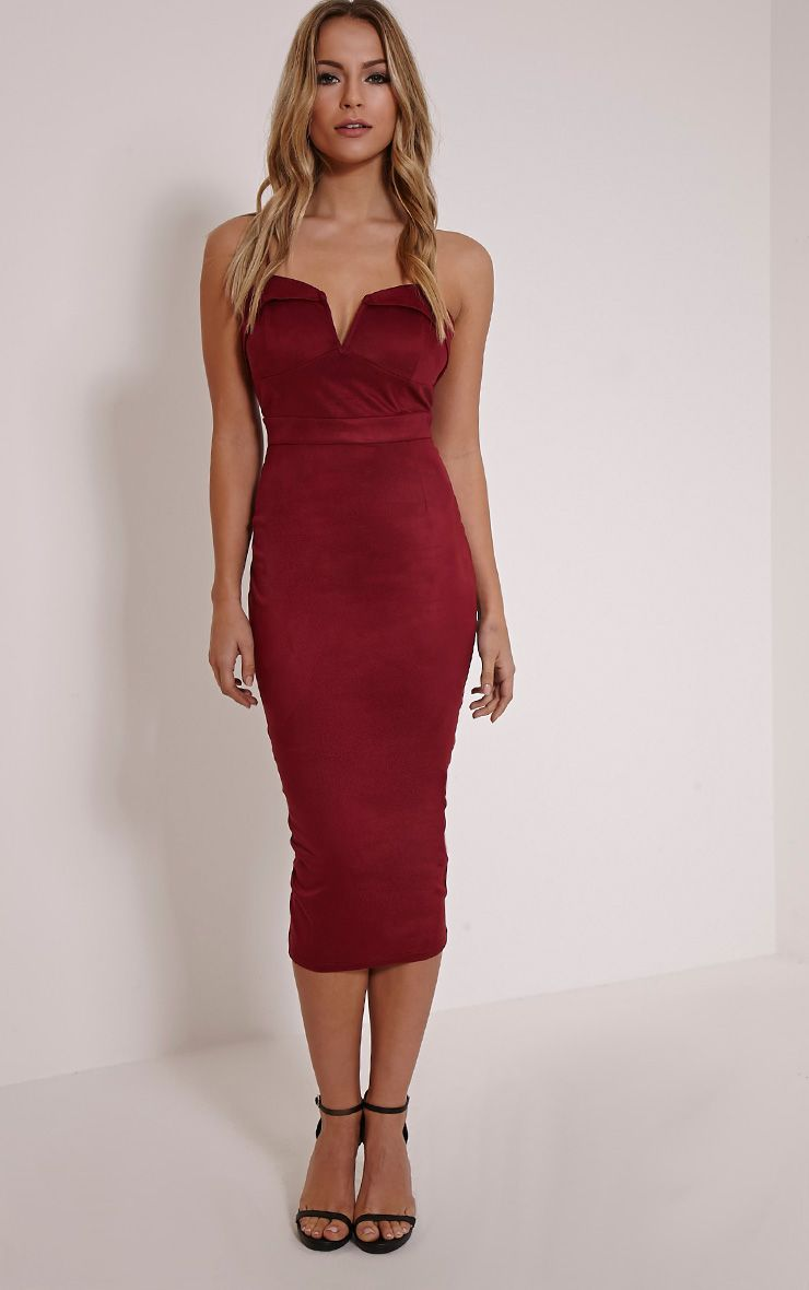Elie Burgundy Suede Midi Dress 1