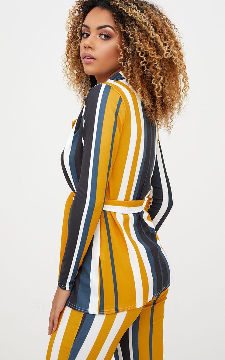 Blazer moutarde rayures avec ceinture manteaux et vestes - Blazer jaune moutarde ...