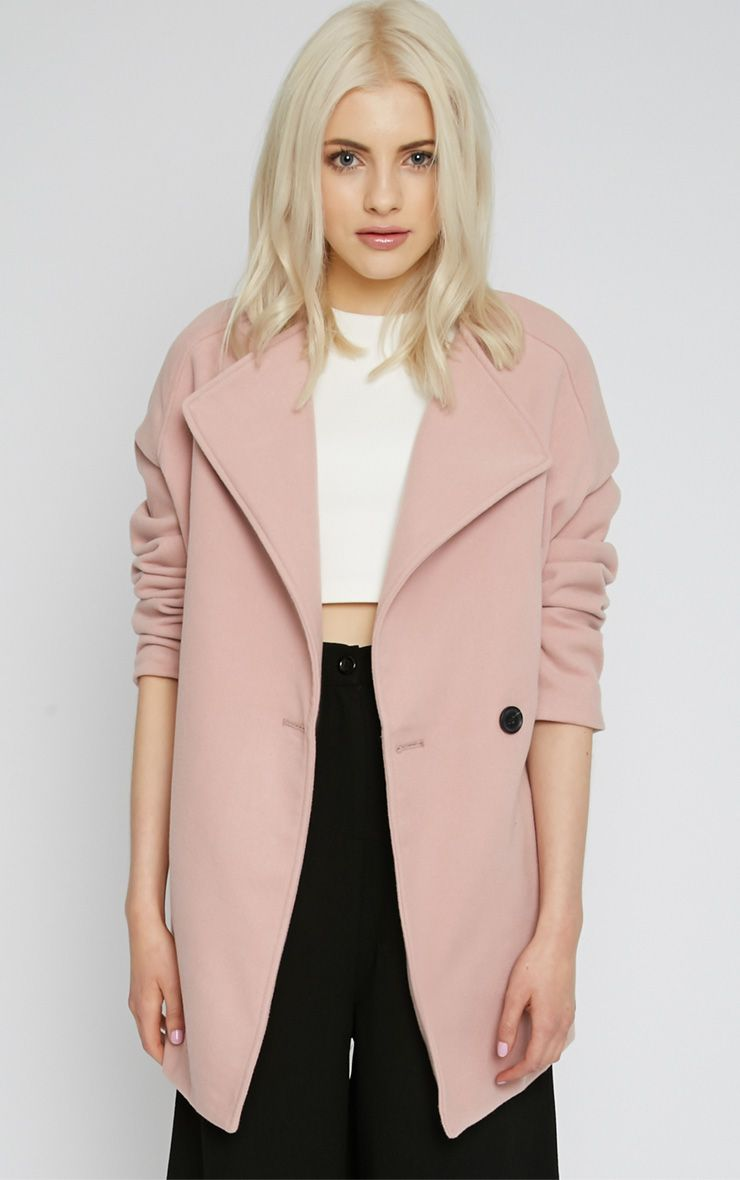 Lotty Pink Cross Over Boyfriend Coat -L 1