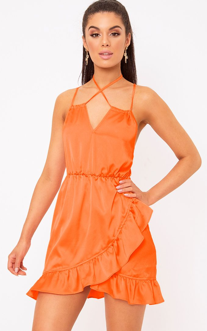 Orange Satin Strappy Frill Detail Shift Dress
