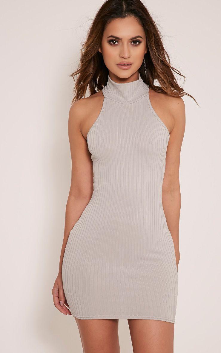 Pearla Grey Racer Neck Ribbed Bodycon Dress 1