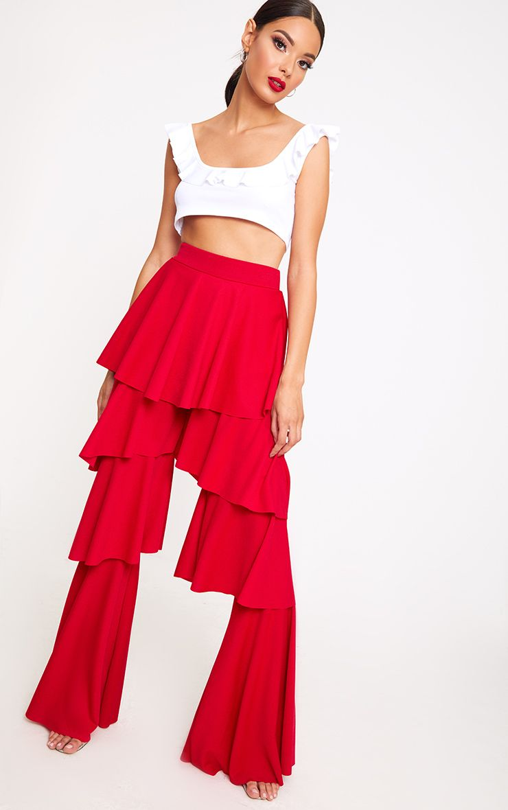 Red Tiered Frill Wide Leg Trousers