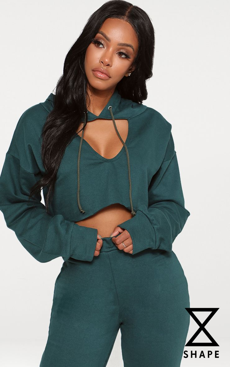 Shape Emerald Green Crop Open Neck Hoodie 1