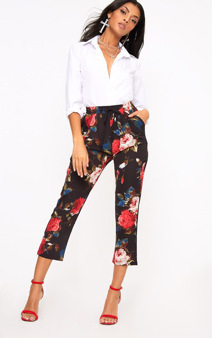 Black Floral Casual Trousers