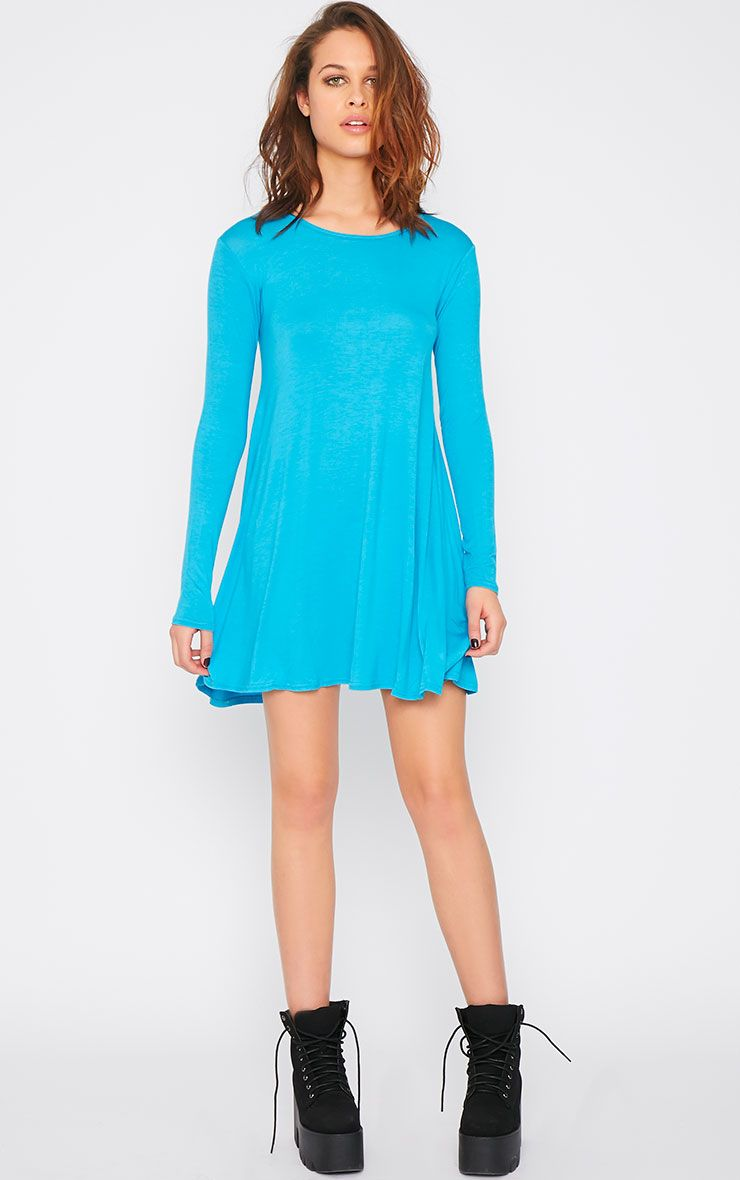 Rosie Aqua Jersey Swing Dress 1