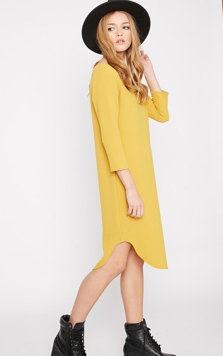 Camilla Mustard Crepe Shift Dress 1