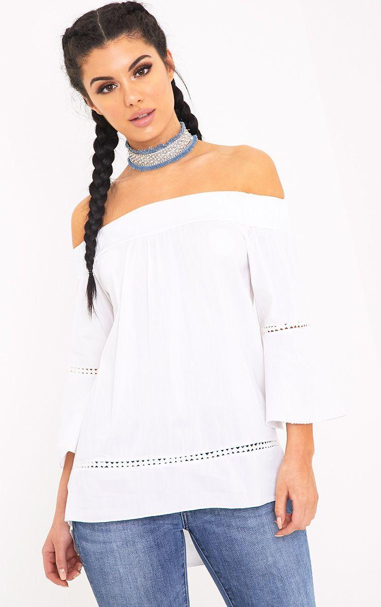 Alexsia White Bardot Crochet Insert Top