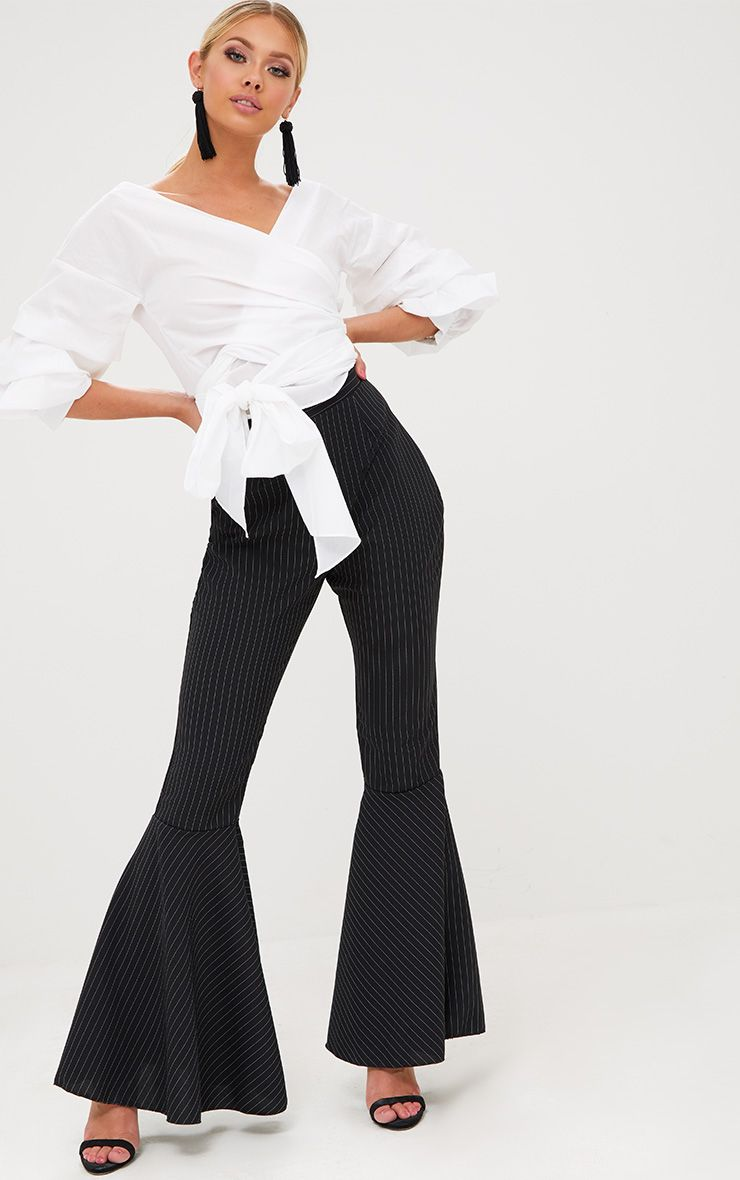Black Pinstripe Extreme Flare Trousers