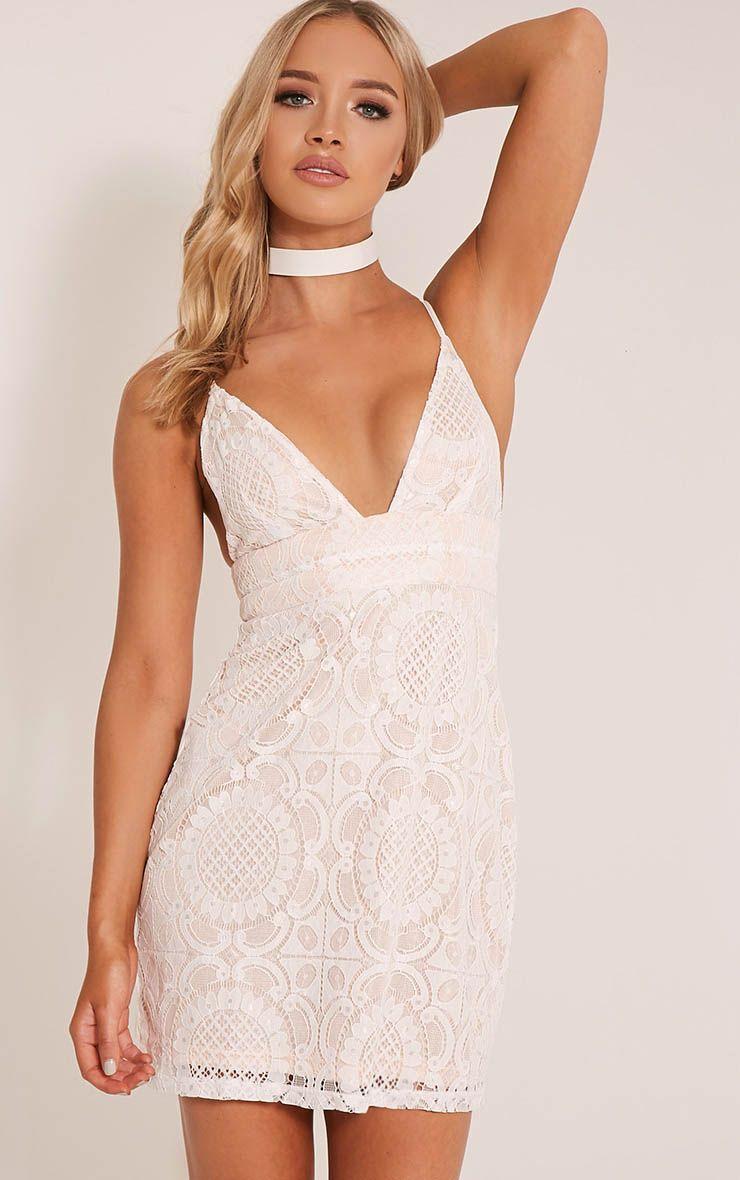 Leah White Lace Strappy Bodycon Dress