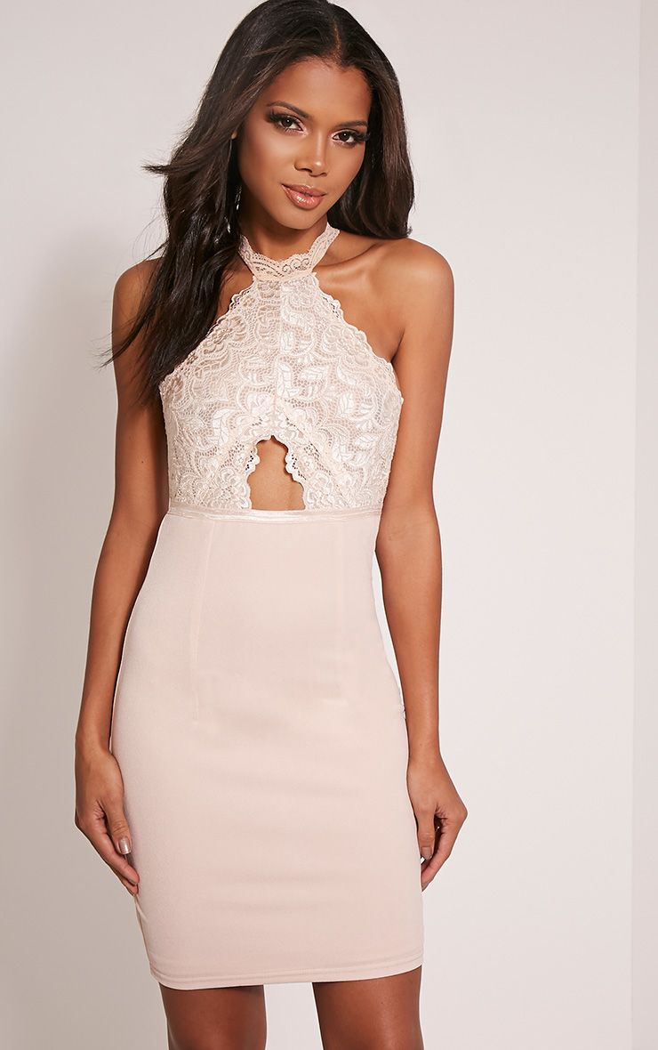 Dina Nude Lace Detail T Bar Bodycon Dress