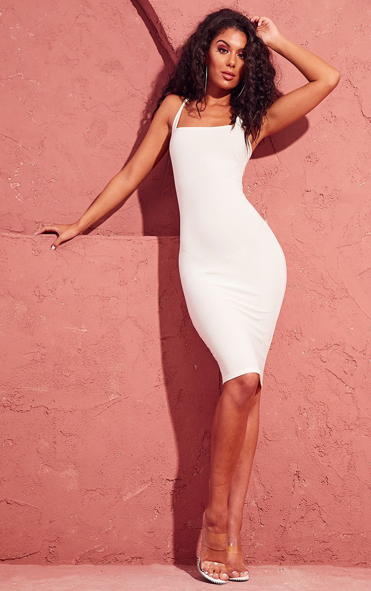 Cream Square Neck Strappy Midi Dress
