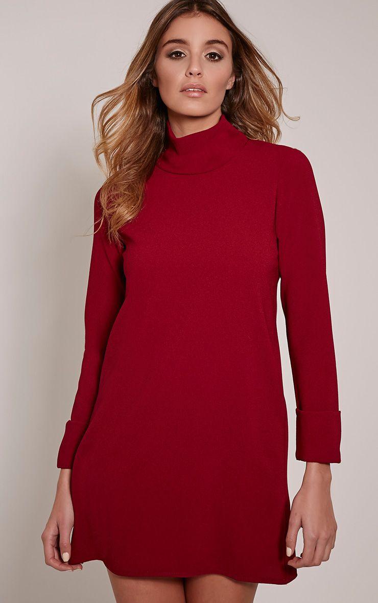 Nickie Burgundy Roll Neck Shift Dress