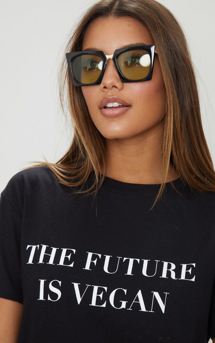 Green Lens Angular Frame Retro Sunglasses 1