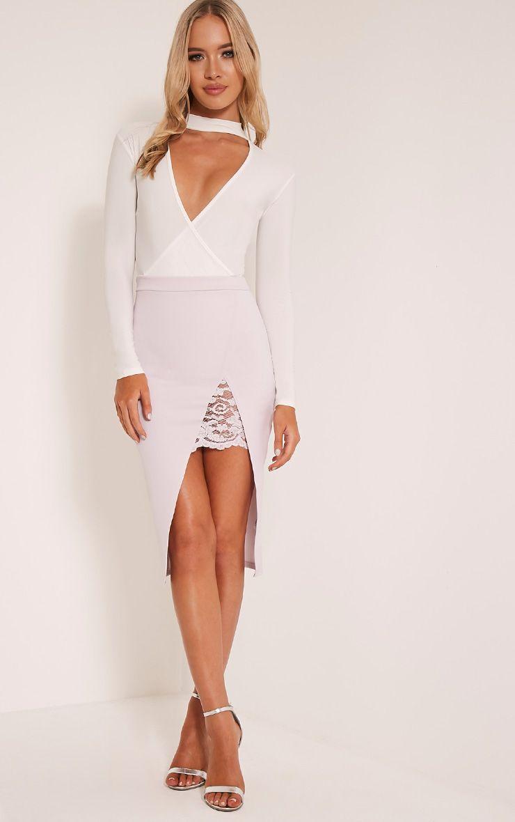 Zaria Lilac Lace Split Midi Skirt 1