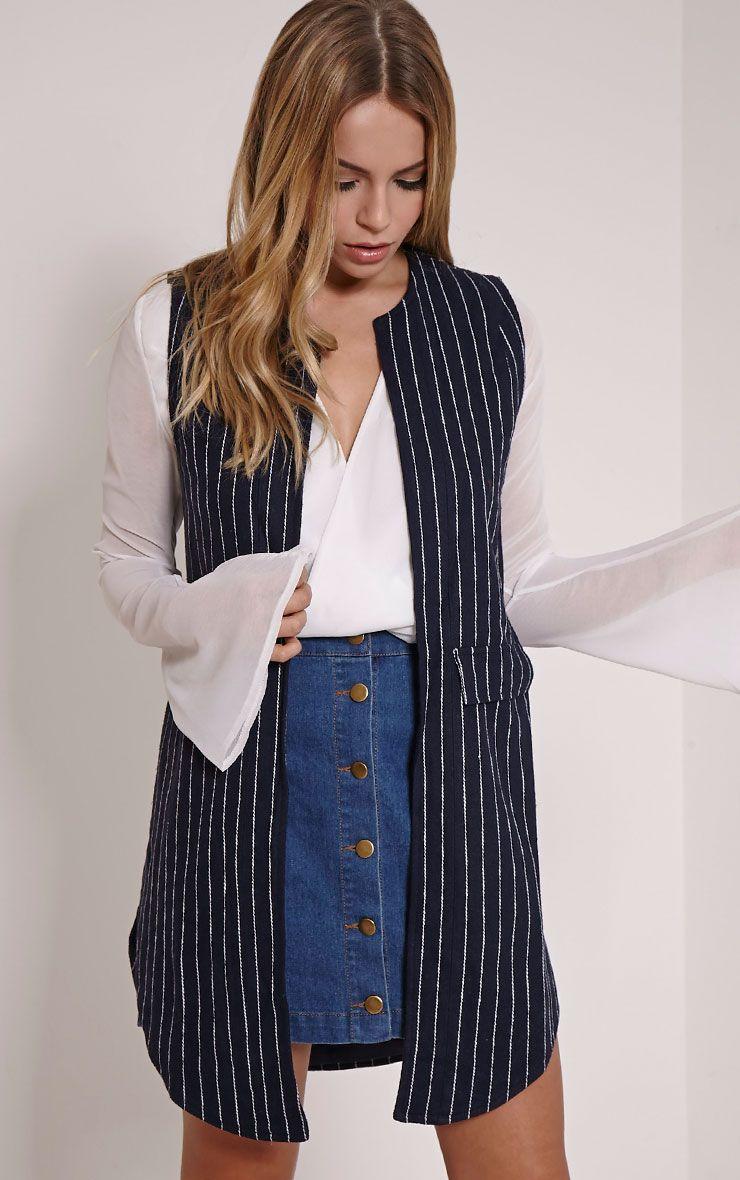 Eva Navy Pinstripe Sleeveless Blazer 1
