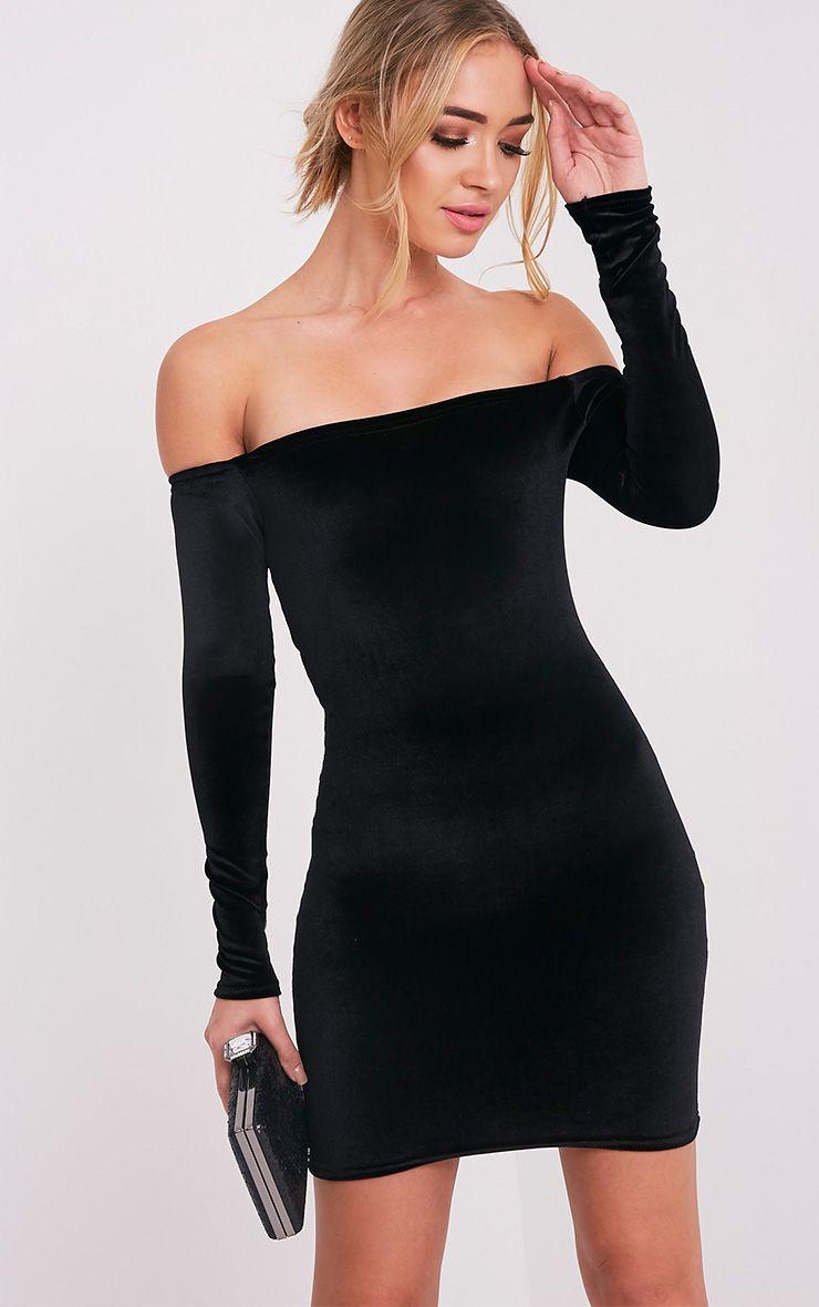 Fiah Black Velvet Bardot Bodycon Dress 1