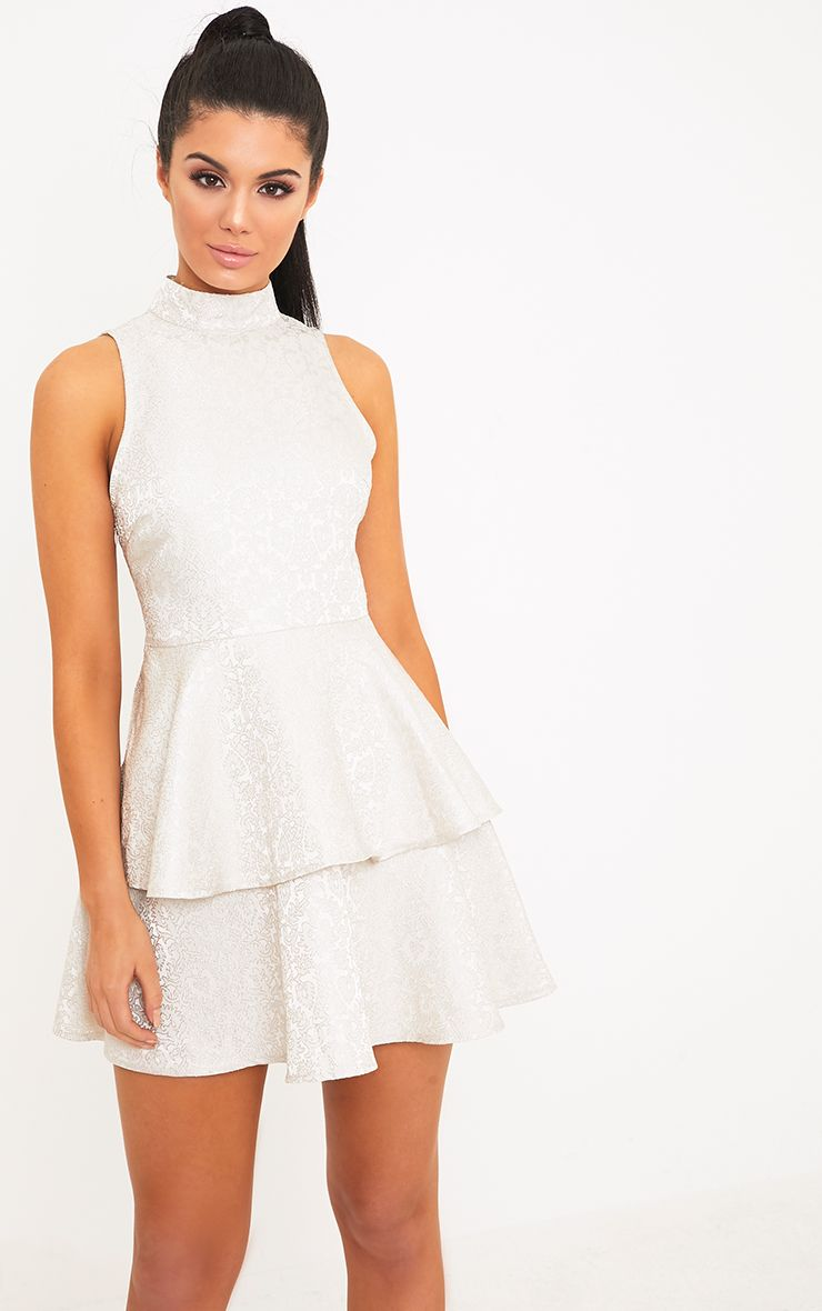 Narissaa Champagne Jacquard High Neck Skater Dress
