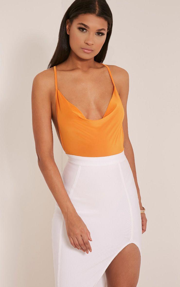 Celina Bright Orange Cross Back Cowl Neck Thong Bodysuit 1