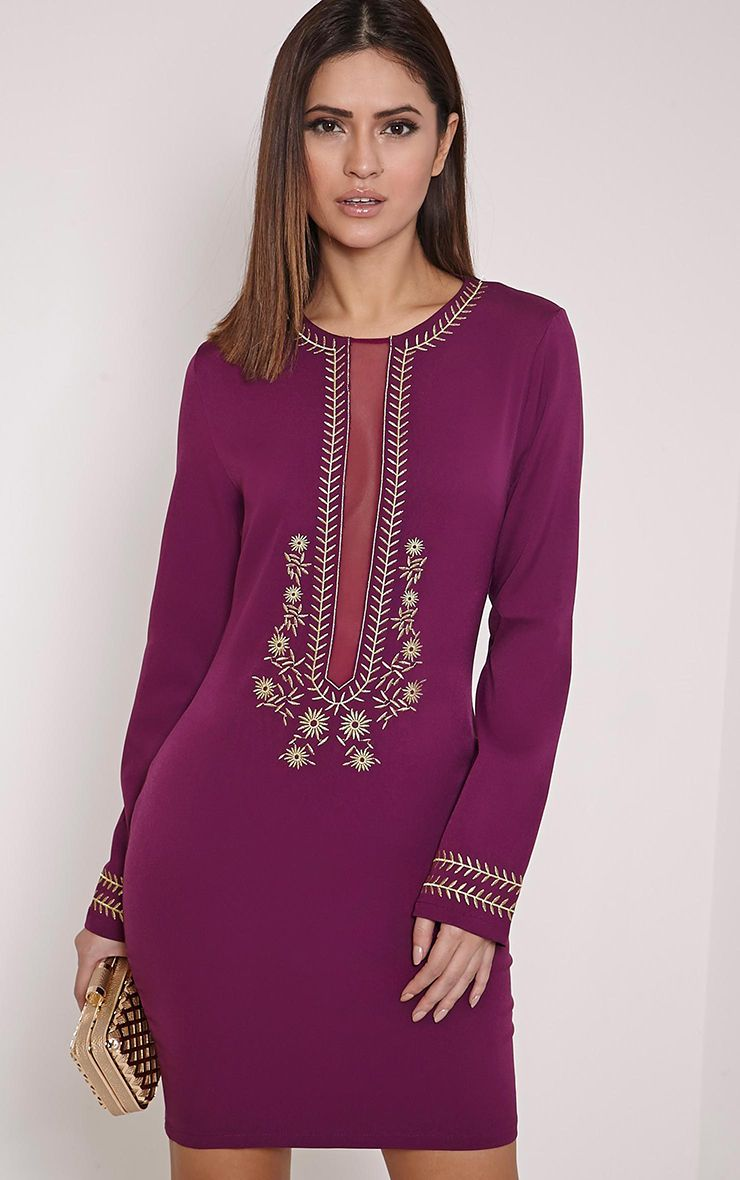 Calvy Plum Embroidered Shift Dress 1