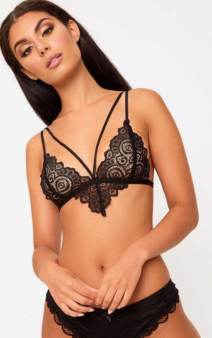 Black Lace Detail Strappy Bra