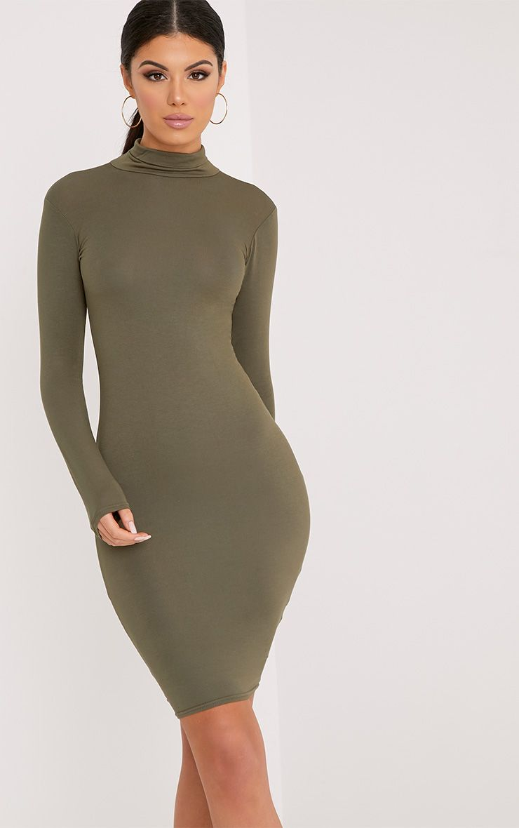 Basic Khaki Jersey Roll Neck Midi Dress 1
