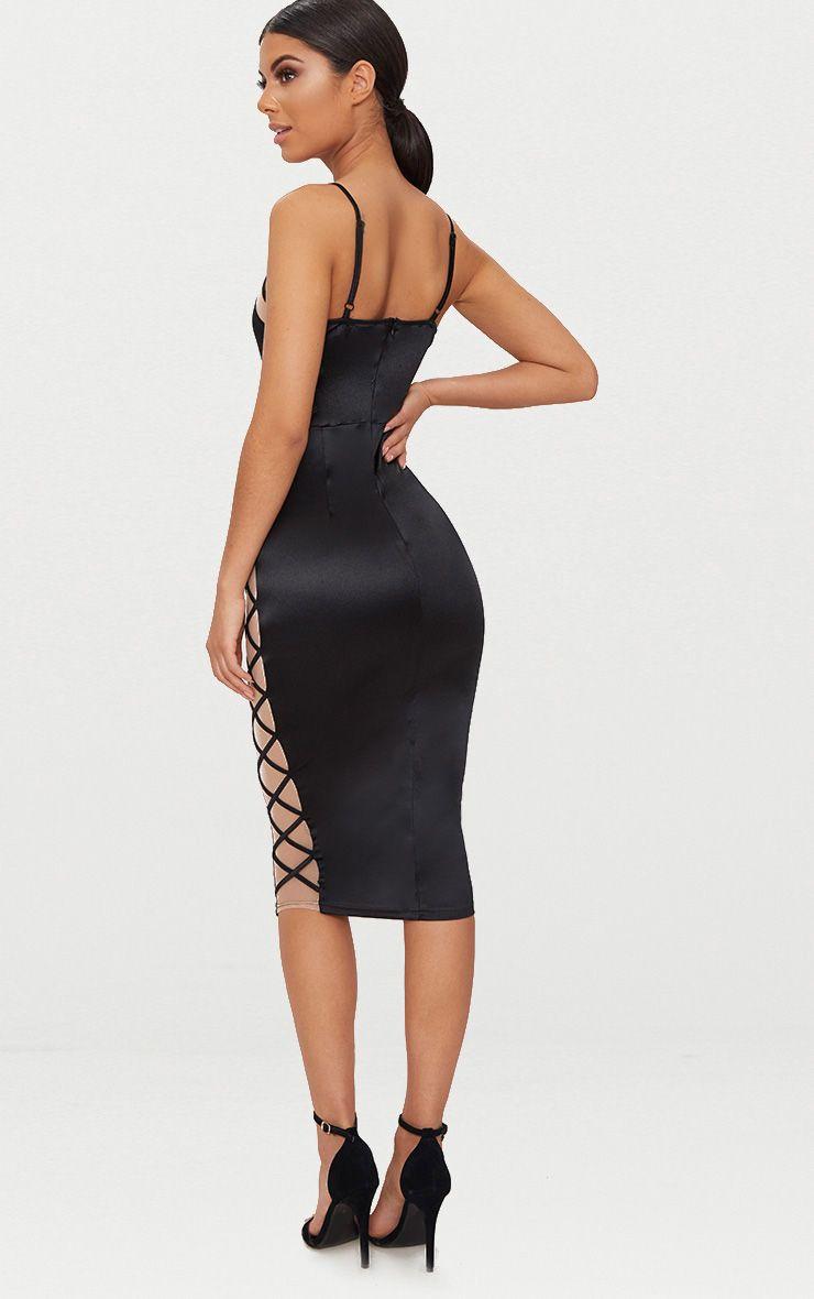 Black Satin Lace Up Midi Dress | PrettyLittleThing