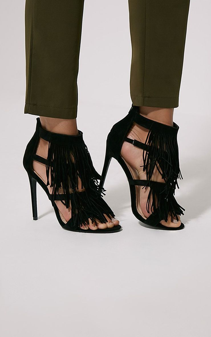 Taysa Black Tassel Heeled Sandals 1