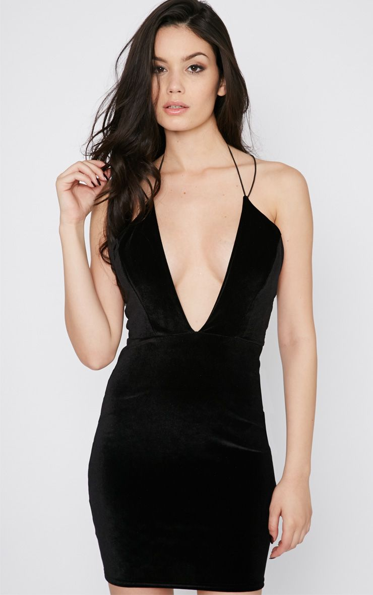 Gisele Black Velvet Plunge Dress 1