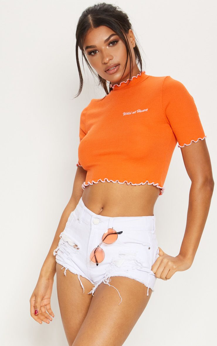 Orange Wild At Heart Jersey Frill Detail Slogan Crop Top