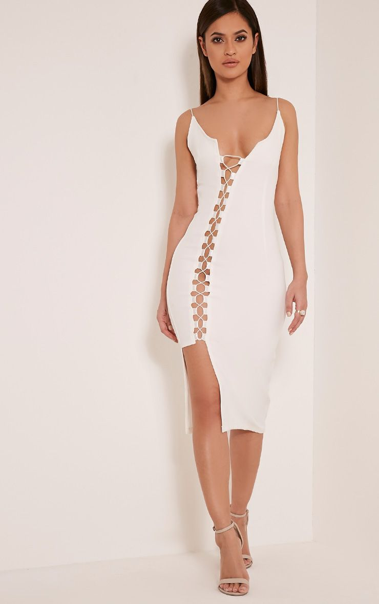 Lovina White Lace Up Bodycon Dress