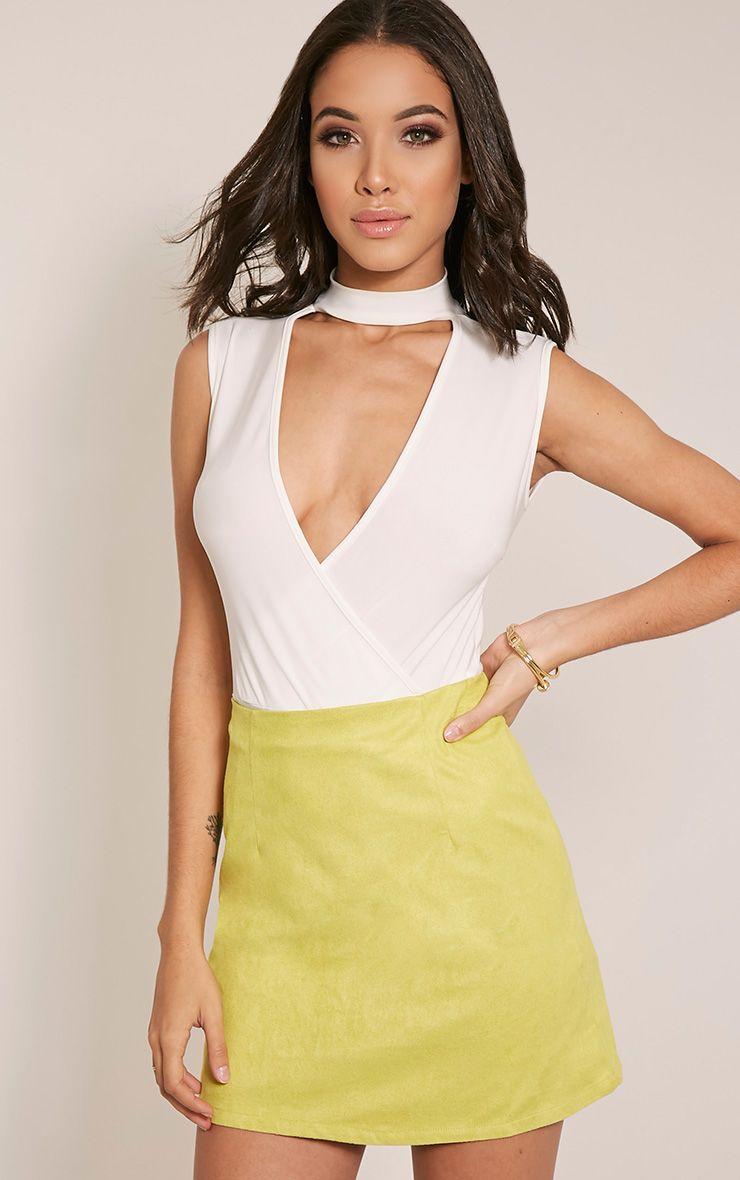 Lauree Lime Faux Suede Mini Skirt