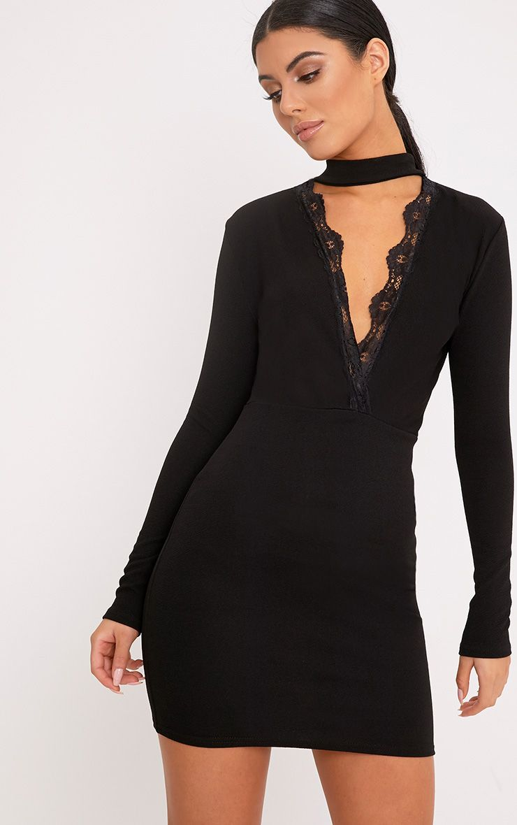 Gia Black Lace Trim Choker Neck Bodycon Dress