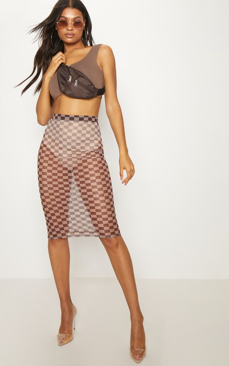 Brown Sheer Contrast Square Midi Skirt